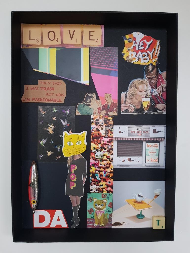 love, art, dada, Collageart, Assemblageart, Object, foundobjects, Fundstücke, Kunst, Geschenk,