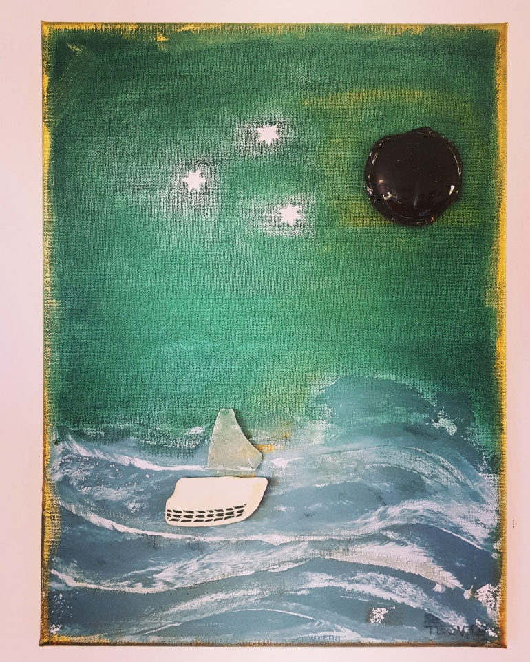 how 2 sail away, mixedmedia, assemblage on canvas, 2017, 30 x 40, available