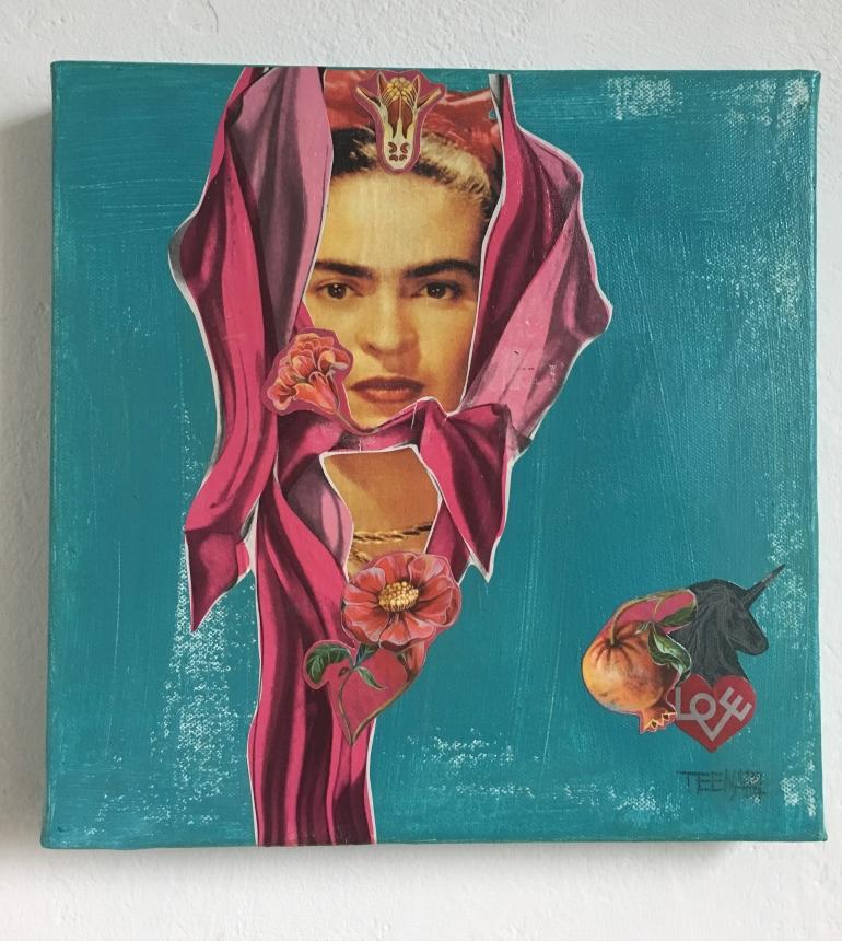 love, collage, collageart, mixedmediaart, Frida Kahlo hommage, granatapfel, Liebe, Kunst