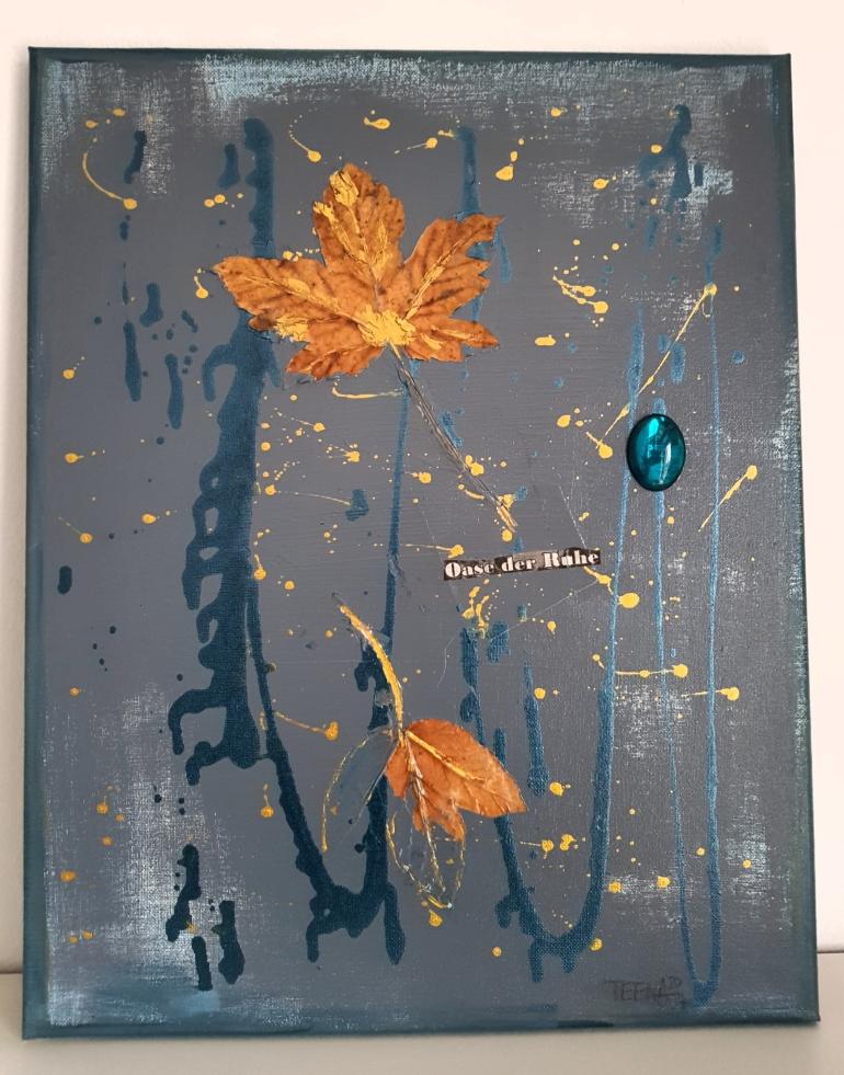 Goldblatt, Teena Leitow, Kunst, Mixedmediaart, Blattgold, Blätter, gold, Ruhe, Natur, blau, grau, Herbst, Art
