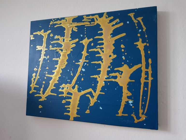 Trees, love, nature, Bäume, blau, gold, Kunst, Art, Mixedmediaart, Teena Leitow