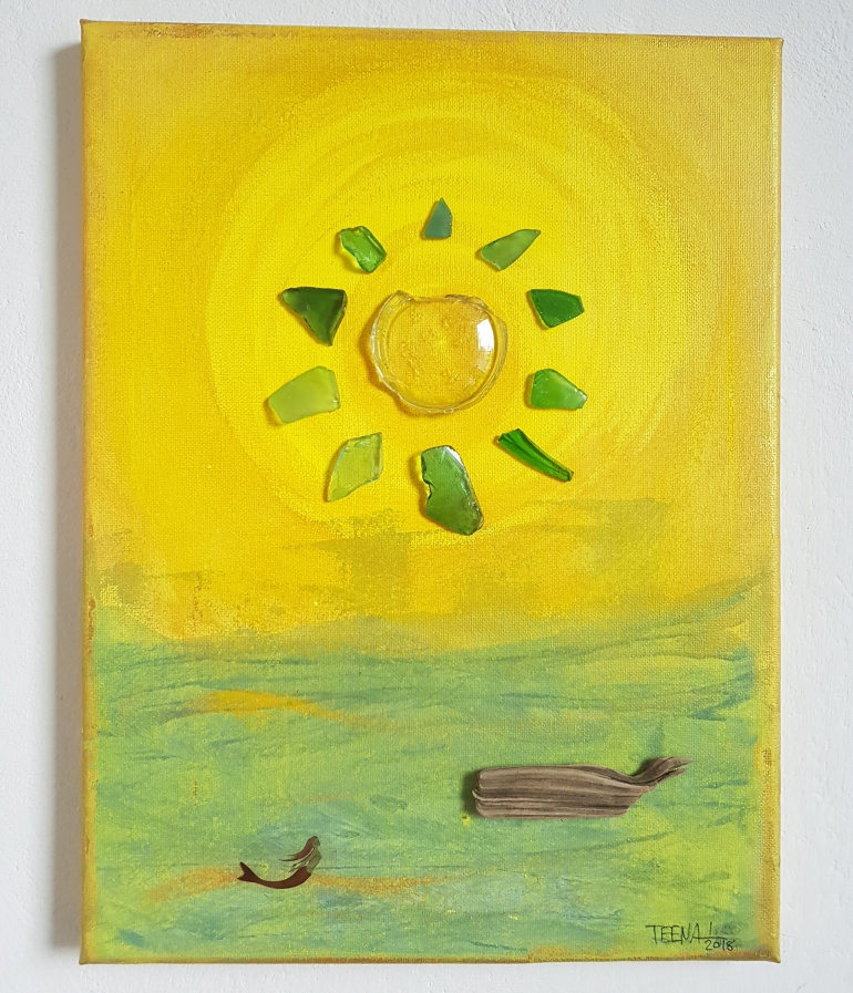 sun, Sonne, Wal, Meerjungfrau, mermaid, Meer, Assemblageart, Mixedmediaart, Collageart, Teena Leitow, Kunst, Fundstücke, Contemporary Art