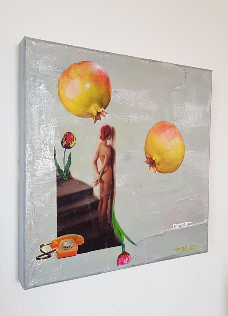 Musenküsse, Kunst, Teena Leitow, granatapfel, Telefon, Mixedmediaart, Contemporary Art, Kunst kaufen