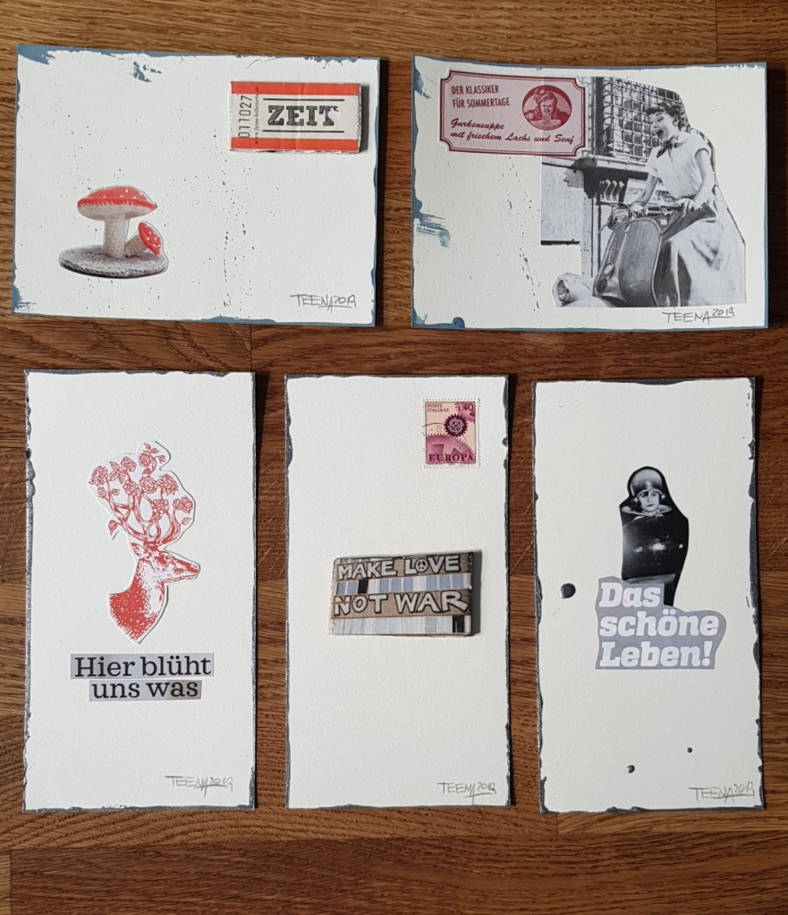PostkARTenUnikate, Teena Leitow, atelier acht, Kunst im Abo, postcART, Postkarten, Minikunst, tiny art